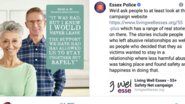 "A police force has apologised for a ""clumsy"" defence of a domestic abuse campaign that was criticised for emphasising how victims can remain with their abusers."