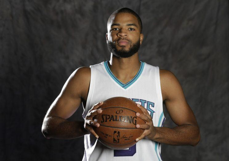 Aaron Harrison played five games for the Hornets this season. (AP)