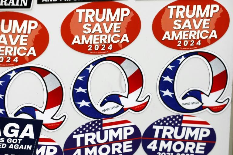 Magnets supporting a Donald Trump White House bid in 2024 on sale in Fowlerville, Michigan on May 15, 2021