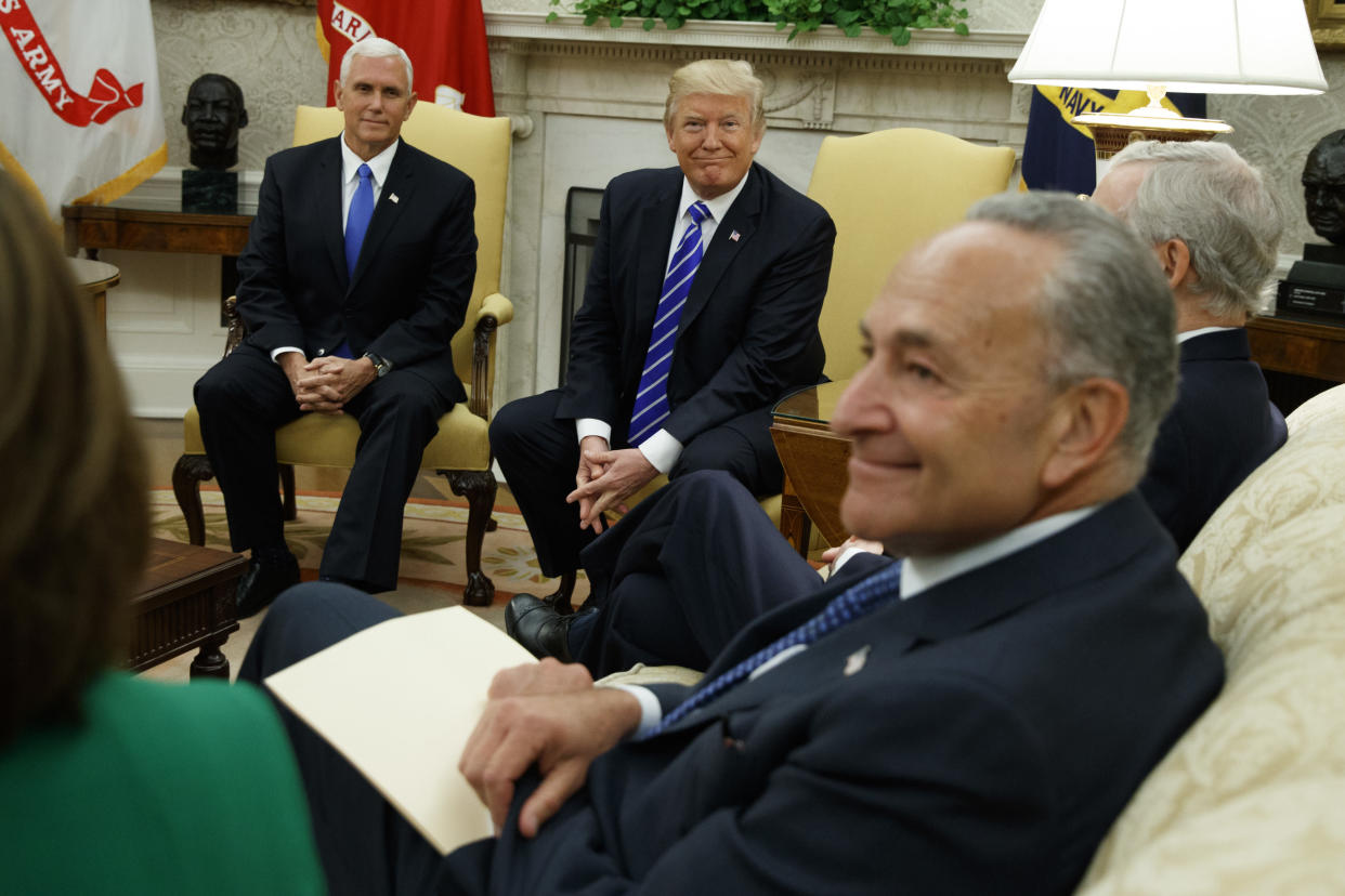Vice President Mike Pence and President Trump meet in the Oval Office with Senate Minority Leader Chuck Schumer and other congressional leaders, Sept. 6. (Photo: Evan Vucci/AP)