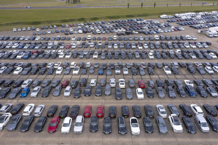 Thousands of unwanted new and used cars at Thurleigh Airfield in Bedfordshire, England. Photo: Chris Gorman/Getty Images