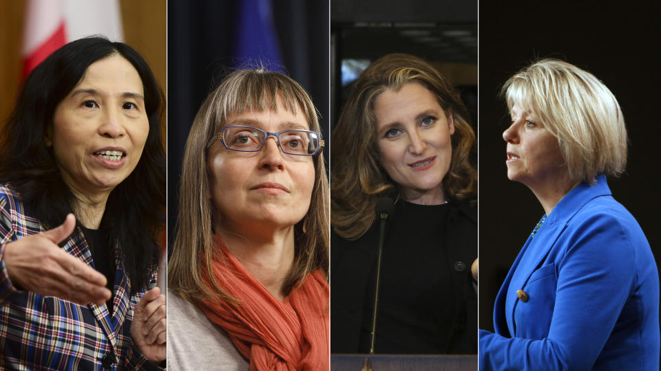 Composite image shows (L to R) Dr. Theresa Tam, Dr. Deena Hinshaw, Chrystia Freeland and Dr. Bonnie Henry. (The Canadian Press/Yahoo Canada)