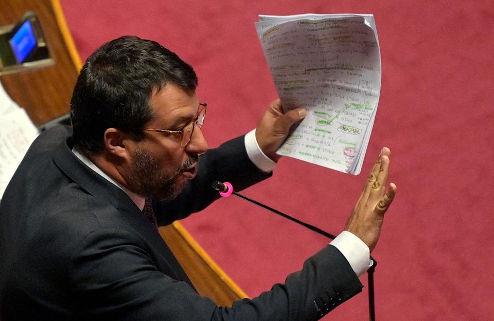 Leader of Lega Matteo Salvini delivers a speech after prime minister Giuseppe Conte reported at the Senate on Recovery Fund, Rome, Italy, 22 July 2020. ANSA/RICCARDO ANTIMIANI (Photo: ANSA)