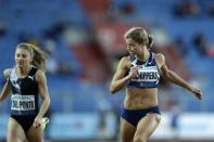 Dafne Schippers of the Netherlands, right, competes in 150 meters at the Golden Spike athletic meeting in Ostrava, Czech Republic, Tuesday, Sept. 8, 2020. (AP Photo/Petr David Josek)
