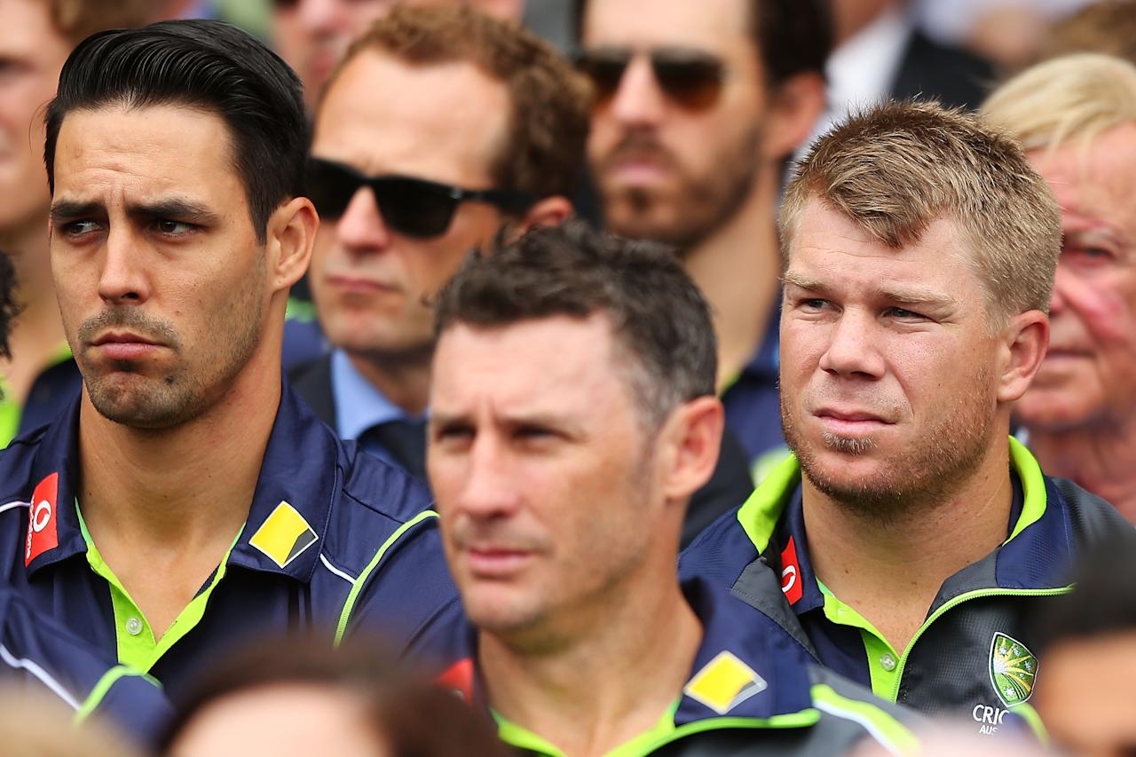 SYDNEY, AUSTRALIA - JANUARY 20:  Australian cricketers Mitchell Johnson, David Hussey and David Warner attend the Tony Greig memorial service at Sydney Cricket Ground on January 20, 2013 in Sydney, Australia.  (Photo by Brendon Thorne/Getty Images)