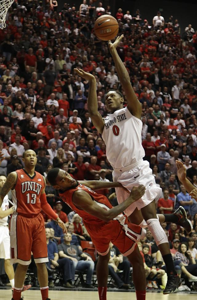 San Diego State's Skylar Spencer (0) charges into UNLV forward Roscoe Smith during the first half of an NCAA college basketball game on Saturday, Jan. 18, 2014, in San Diego. Spencer was called for the foul. (AP Photo/Lenny Ignelzi)