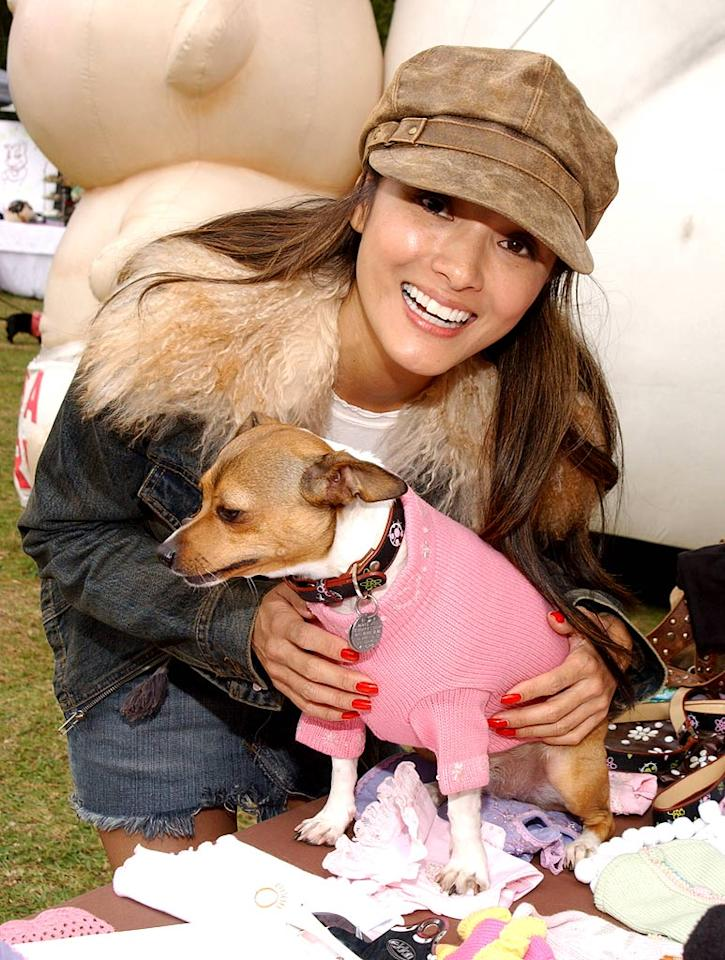"Kelly Hu and her dog attend the Silver Spoon Dog and Baby Buffet. Jean-Paul Aussenard/<a href=""http://www.wireimage.com"" target=""new"">WireImage.com</a> - April 28, 2006"