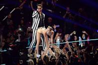 "<p>Miley Cyrus shed her Hannah Montana image for good when she backed it up on Robin Thicke during their August 2013 performance of ""We Can't Stop"" and ""Blurred Lines"" at the MTV VMAs, wearing a nude bikini and a foam finger.</p>"