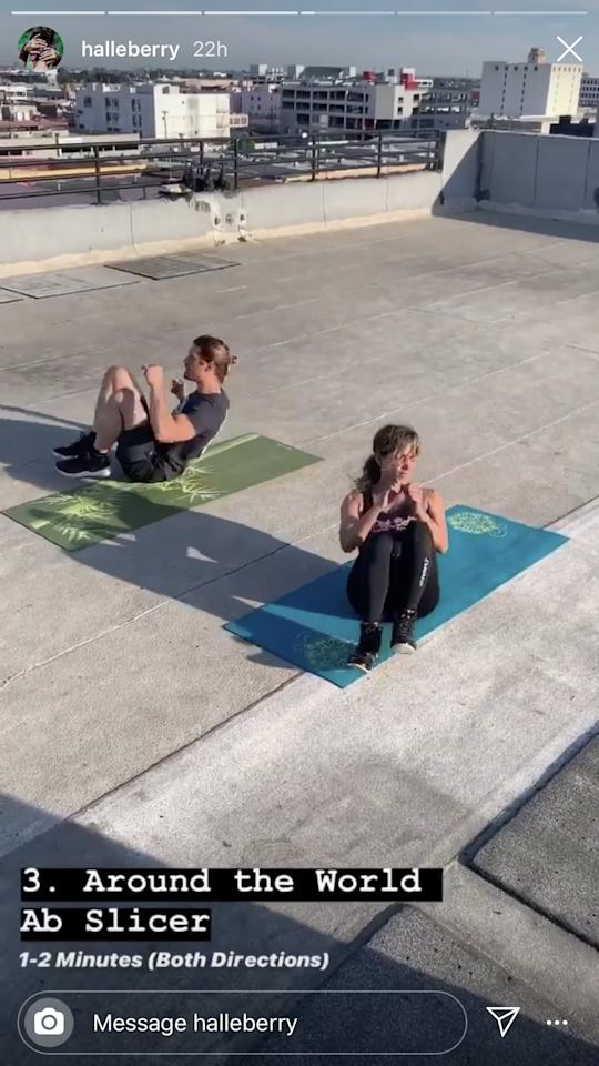 <p>Start in a seated position, and lift your feet up off the ground. Extend your legs straight out in front of you, and then bring them into your chest. Turn clockwise and repeat until you've done a full rotation. Then, repeat going counterclockwise. Complete for one to two minutes in both directions.</p>