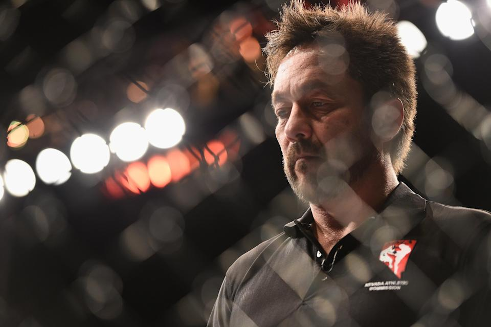 Referee Mario Yamasaki, in a file photo, received heavy criticism for his work Saturday in a women's flyweight fight between Valentina Shevchenko and Priscilla Cachoeira in Belem, Brazil. (Getty Images)