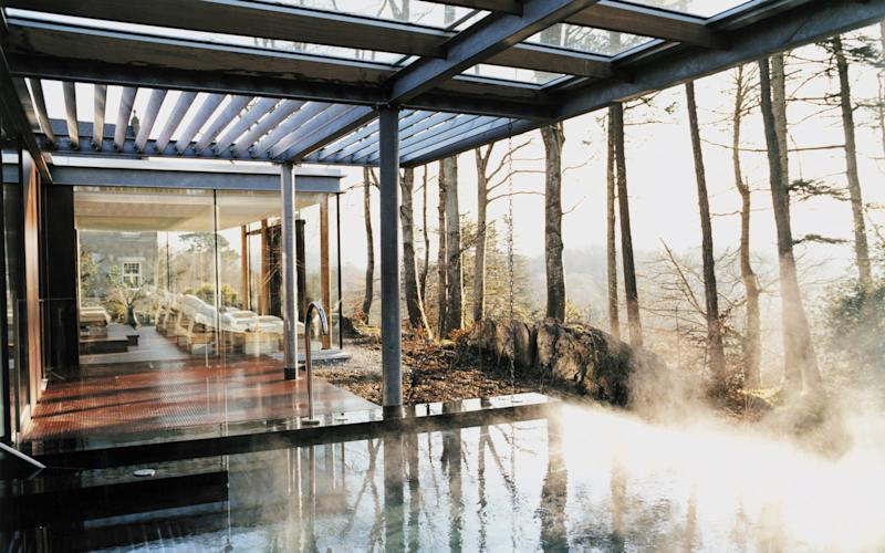 Spa facilities at Park Hotel Kenmare include a 40-degree thermal eternity pool open to the wilderness, a steam room, a tropical shower and knippe pool.