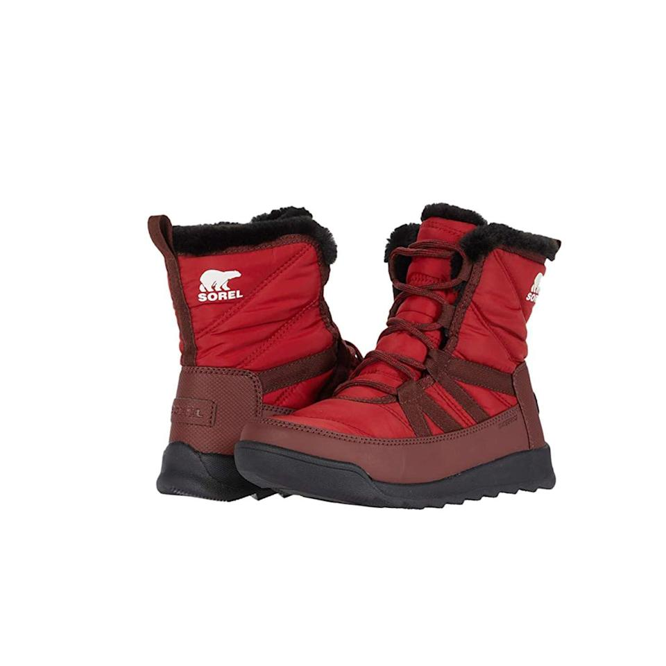 """<p><strong>Sorel</strong></p><p>zappos.com</p><p><strong>$119.95</strong></p><p><a href=""""https://go.redirectingat.com?id=74968X1596630&url=https%3A%2F%2Fwww.zappos.com%2Fp%2Fsorel-whitneyy-ii-short-lace-red-dahlia%2Fproduct%2F9400640&sref=https%3A%2F%2Fwww.thepioneerwoman.com%2Ffashion-style%2Fg32598715%2Fbest-snow-boots-women%2F"""" rel=""""nofollow noopener"""" target=""""_blank"""" data-ylk=""""slk:Shop Now"""" class=""""link rapid-noclick-resp"""">Shop Now</a></p><p>A removable padded footbed makes these fur-lined boots extra supportive. But consider going up from your usual size: Some reviewers say they run narrow. </p>"""