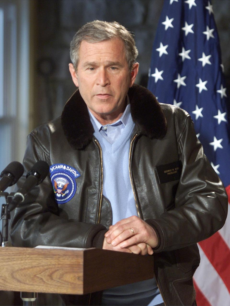 The 43rd president of the United States, George W. Bush, during a news conference with British Prime Minister, Tony Blair, at Camp David in Maryland, February 23, 2001.