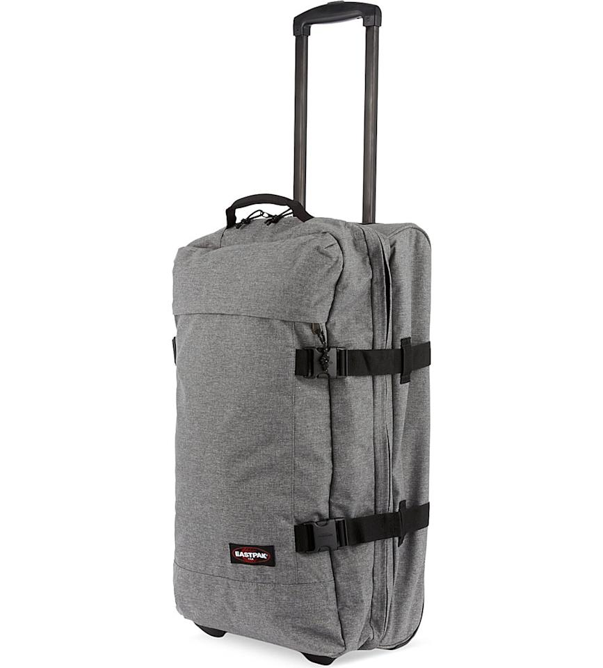 "<p>Say hello, to this most stylish soft suitcase ever. <i><a href=""http://www.selfridges.com/GB/en/cat/eastpak-transfer-large-two-wheel-suitcase-77cm_193-84022787-EK663SUNDAYGREY/?previewAttribute=Sunday+grey&_%24ja=tsid:32619%7Cprd:79682&cm_mmc=AFFIL-_-AWIN-_-79682-_-0RpXOIXA500&awc=3539_1464342316_7a122699a3dcf6d24923021d33d6c4f5&utm_source=Affiliates&utm_medium=79682&utm_term=na&utm_content=na&utm_campaign=na"">[Eastpack, £130]</a></i></p>"