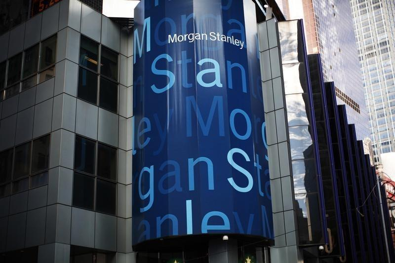 The corporate logo of financial firm Morgan Stanley is pictured on company's world headquarters in the Manhattan borough of New York City