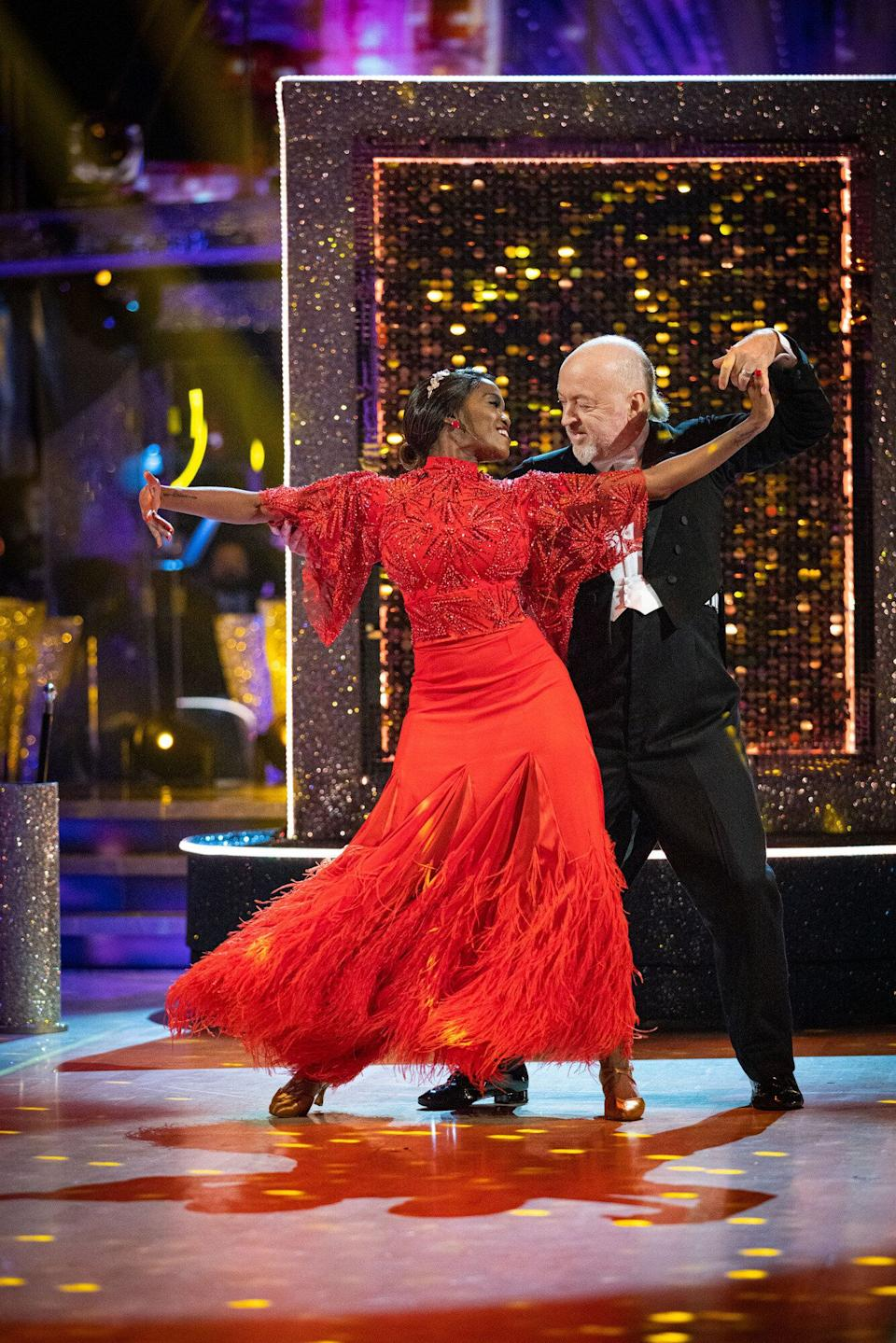 Oti Mabuse and Bill Bailey on the Strictly dance floor last year (Photo: BBC / Guy Levy)
