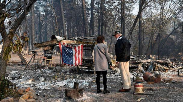 PHOTO: President Donald Trump views damage from wildfires in Paradise, Calif., Nov. 17, 2018. (Saul Loeb/AFP/Getty Images)