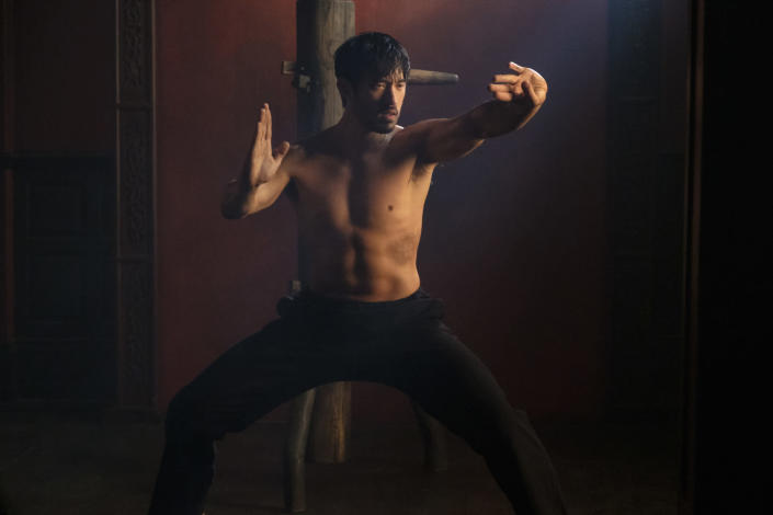 """This image released by Cinemax shows Andrew Koji in a scene from the drama series """"Warrior."""" The historical drama inspired by Bruce Lee's original idea, premieres its second season on Friday. (Cinemax via AP)"""