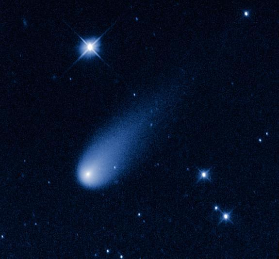 The Hubble Space Telescope captured this view of Comet ISON, C/2012 S1 (ISON), on May 8, 2013 as it streaked between the orbits of Jupiter and Mars at a speed of about 48,000 mph.