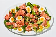 "We love a classic Niçoise salad made with fancy oil-packed tuna, but using warm, slow-roasted salmon instead makes the whole thing feel a little more special. About that slow-roasted salmon: It is, hands down, the most foolproof way of achieving tender, perfectly-cooked fish we have ever come up with, no hot pan or sizzling oil necessary. <a href=""https://www.bonappetit.com/recipe/summer-salmon-nicoise?mbid=synd_yahoo_rss"" rel=""nofollow noopener"" target=""_blank"" data-ylk=""slk:See recipe."" class=""link rapid-noclick-resp"">See recipe.</a>"