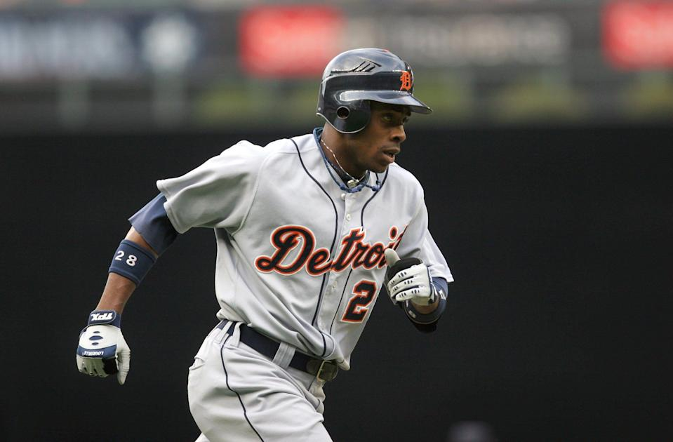 Detroit Tigers' Curtis Granderson rounds third after hitting a lead-off solo home run in the first inning against the Seattle Mariners in Seattle on Saturday, July 14, 2007.
