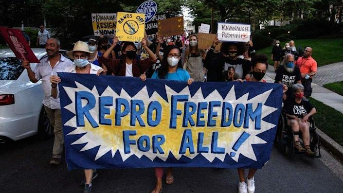 Abortion rights activists march to the house of US Supreme Court Justice Brett Kavanaugh