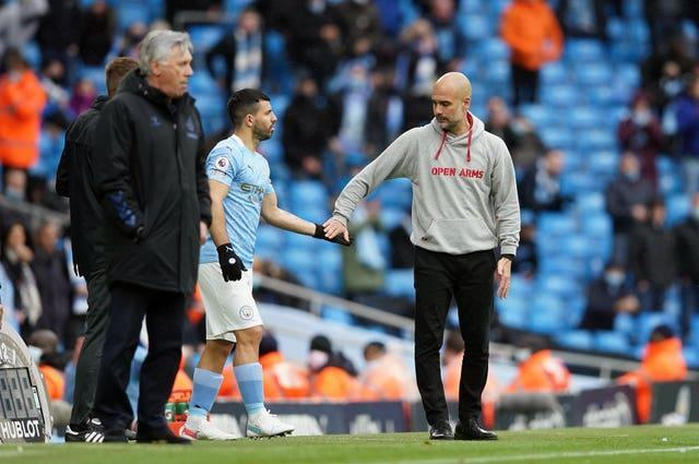 Pep Guardiola brings on Sergio Aguero for his last Premier League appearance for Manchester City