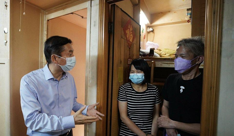 Luo Huining, the director of Beijing's liaison office, visits residents in Mong Kok. Photo: Handout