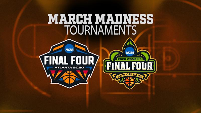 2020 NCAA Division I Men's Basketball Final Four Atlanta and Women's Basketball Final Four New Orleans logos, on texture with MARCH MADNESS TOURNAMENTS lettering, finished graphic