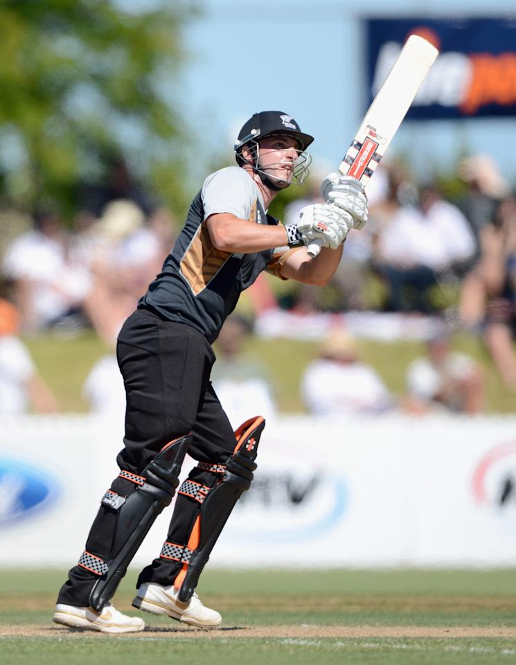 WHANGAREI, NEW ZEALAND - FEBRUARY 06:  Hamish Rutherford of a New Zealand XI bats during a T20 Practice Match between New Zealand XI and England at Cobham Oval on February 6, 2013 in Whangarei, New Zealand.  (Photo by Gareth Copley/Getty Images)