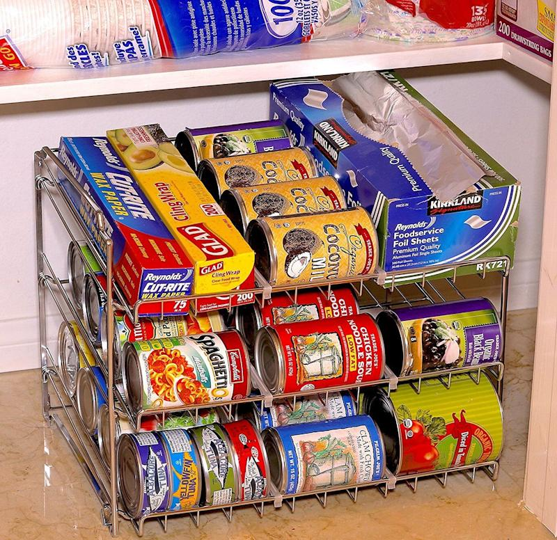"Keep all of your <a href=""https://www.amazon.com/SimpleHouseware-Stackable-Rack-Organizer-Chrome/dp/B01IIXR2II/"" target=""_blank"">canned goods neatly organized</a> and easily within reach, rather than a stacked mess that could topple over any minute."