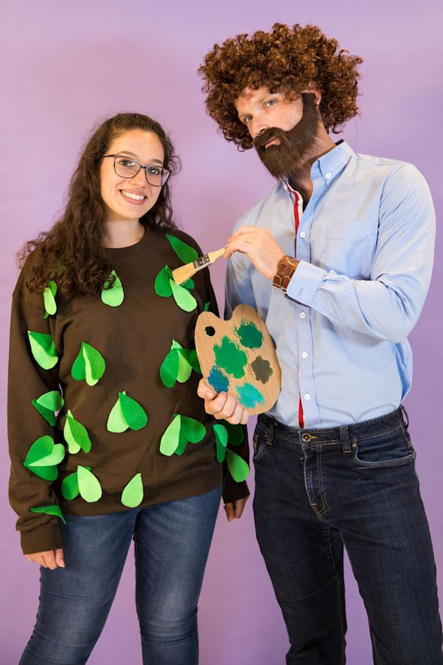 """<p>This DIY-friendly idea is all the throwback fun you need this year. Not to mention, it requires just a few items to recreate the iconic painting TV personality's look.</p><p><em><a rel=""""nofollow"""" href=""""http://www.creatingreallyawesomefreethings.com/diy-family-halloween-costume/""""></a></em><a rel=""""nofollow"""" href=""""http://www.creatingreallyawesomefreethings.com/diy-family-halloween-costume/""""></a><strong>What you'll need:</strong> craft leaves ($8, <a rel=""""nofollow"""" href=""""https://www.amazon.com/Assorted-Weddings-Decorations-Christmas-Bassion/dp/B015C4YD2Y/"""">amazon.com</a>) curly brown wig ($8, <a rel=""""nofollow"""" href=""""https://www.amazon.com/Nextnol-Wig%EF%BC%8CExplosion-wig%EF%BC%8CHippie-Wig%EF%BC%8CHalloween-Wig%EF%BC%8CBoth/dp/B077JPL7L1/ref=cts_ap_1_vtp"""">amazon.com</a>)<br></p>"""