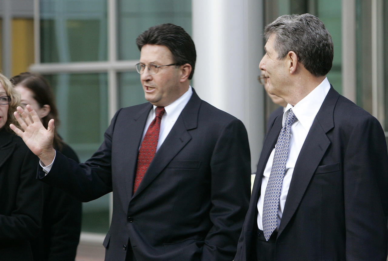 Joseph Nacchio is currently serving his six-year sentence at a federal prison in Minersville, Penn. The former Qwest Communications CEO was convicted for insider training in 2007.  After failed attempts at appealing the decision, he reported to Federal Correctional Institution Schuylkill in 2009. Photo: Former Qwest Communications CEO Joseph Nacchio, left, talks to the media as he leaves the federal courthouse in Denver with his attorney Herbert Stern, right, after being released on $2 million bond on Dec. 20, 2005.