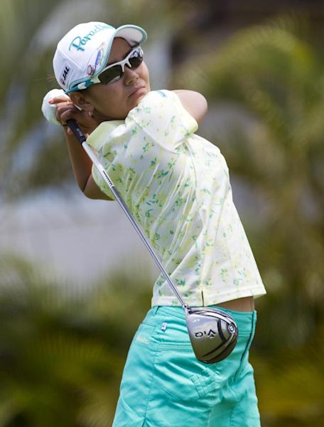 Ai Miyazato, of Japan, watches her drive off the third tee in the final round of the LPGA LOTTE Championship golf tournament at Ko Olina Golf Club, Saturday, April 21, 2012, in Kapolei, Hawaii. (AP Photo/Eugene Tanner)