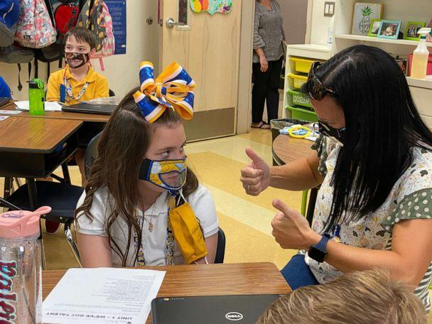 PHOTO: Baleigh Berry, 9, was born deaf and had bilateral cochlear implants to partially restore her hearing. In this undated photo, she engages with a teacher on a classroom lesson at Legacy Elementary School in Bossier City, Louisiana.  (Sonja Bailes/Bossier Schools)