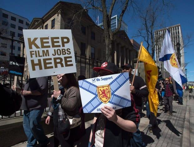 Members of Nova Scotia's film and television industry protest outside the legislature in Halifax on Wednesday, April 15, 2015. Six years later, the sector is thriving. (Andrew Vaughan/The Canadian Press - image credit)