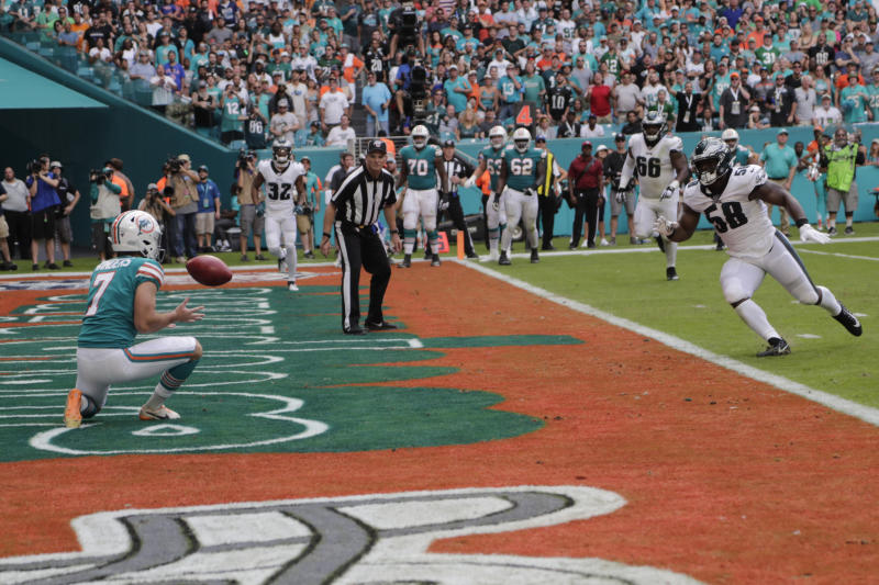 FILE - In this Dec. 1, 2019, file photo, Miami Dolphins kicker Jason Sanders (7) catches a touchdown pass during the first half at an NFL football game against the Philadelphia Eagles in Miami Gardens, Fla. (AP Photo/Lynne Sladky, File)