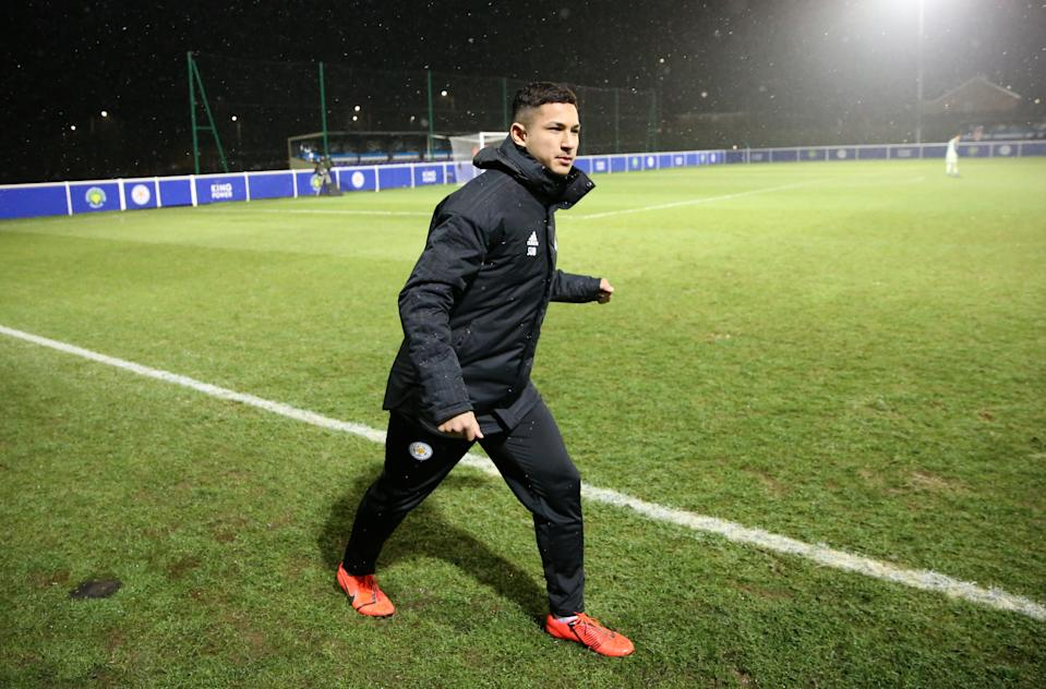 LEICESTER, ENGLAND - JANUARY 29: Faiq Bolkiah of Leicester City warms up from the bench during the Premier League International Cup match between Leicester City and Feyenoord at Holmes Park on January 29, 2019 in Leicester, England. (Photo by Plumb Images/Leicester City FC via Getty Images)