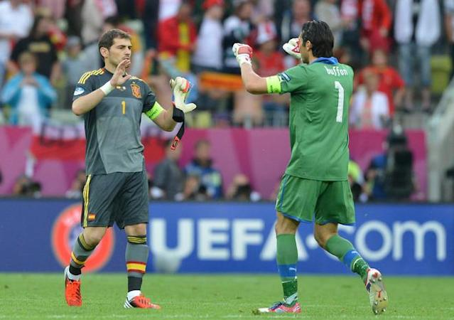 Italian goalkeeper Gianluigi Buffon (R) and Spanish goalkeeper Iker Casillas congratulate each other at the end of the Euro 2012 championships football match Spain vs Italy on June 10, 2012 at the Gdansk Arena. AFP PHOTO / GABRIEL BOUYSGABRIEL BOUYS/AFP/GettyImages