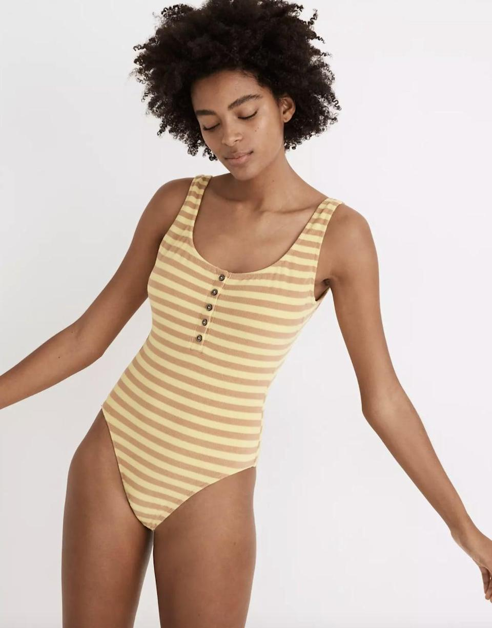 <p>We bet this stretchy <span>Madewell Striped Terry One-Piece Swimsuit</span> ($75) will feel good when you put it on.</p>