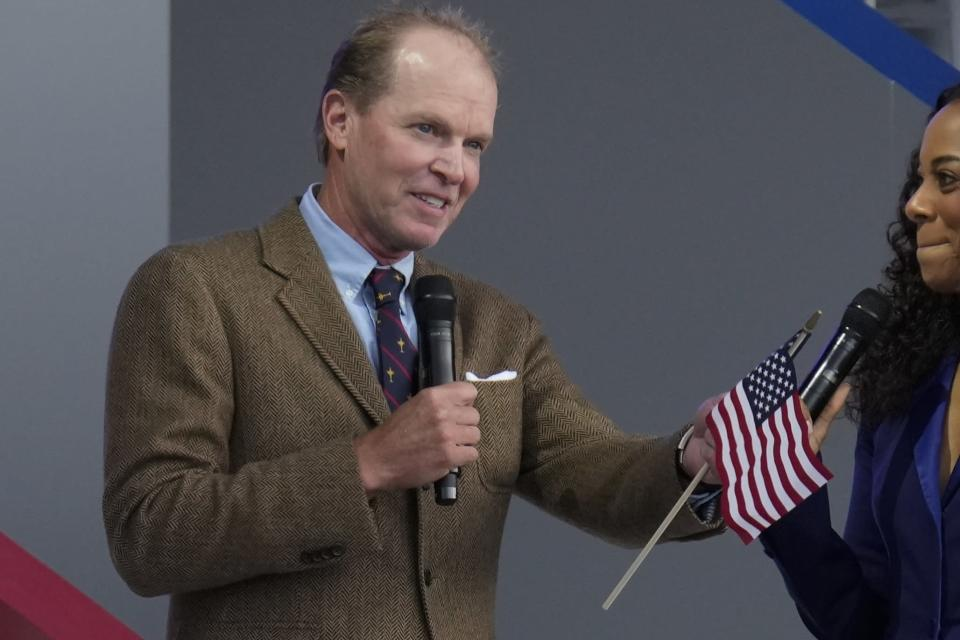 Team USA captain Steve Stricker speaks during the opening ceremony for the Ryder Cup at the Whistling Straits Golf Course Thursday, Sept. 23, 2021, in Sheboygan, Wis. (AP Photo/Ashley Landis)