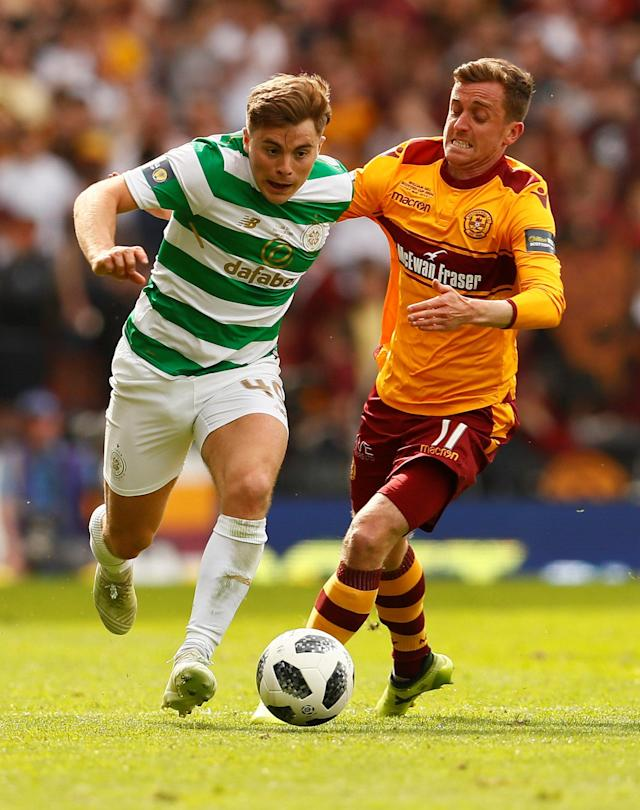 Soccer Football - Scottish Cup Final - Celtic vs Motherwell - Hampden Park, Glasgow, Britain - May 19, 2018 Celtic's James Forrest in action with Motherwell's Elliott Frear Action Images via Reuters/Jason Cairnduff