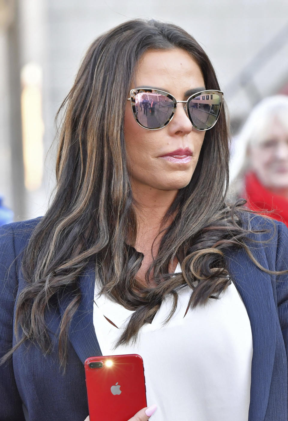 Photo by: zz/KGC-143/STAR MAX/IPx 2019 2/25/19 Katie Price is seen leaving Bexley Magistrates' Court after her trial for being drunk while in charge of a motor vehicle. Price was arrested in South East London in November 2018 and today was found guilty and fined a total of £2,425 - and she has been banned from driving for three (additional) months. (London, England, UK)