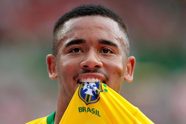 Soccer Football - International Friendly - Austria vs Brazil - Ernst-Happel-Stadion, Vienna, Austria - June 10, 2018 Brazil's Gabriel Jesus celebrates scoring their first goal REUTERS/Heinz-Peter Bader TPX IMAGES OF THE DAY