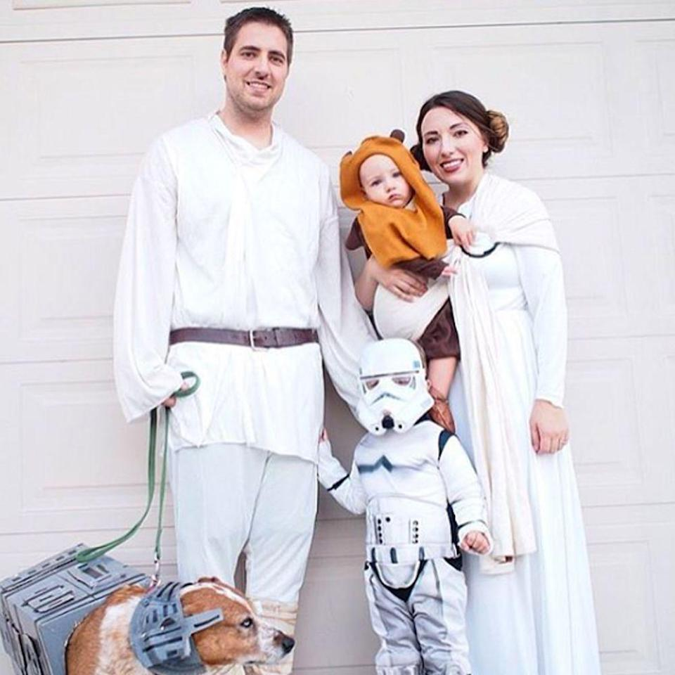"""<p>Luke, Princess Leia, a Stormtrooper, and an Ewok: There are <a href=""""https://go.redirectingat.com?id=74968X1596630&url=https%3A%2F%2Fwww.halloweencostumes.com%2Fstar-wars-costumes.html%3Fq%3Dstar%2Bwars&sref=https%3A%2F%2Fwww.bestproducts.com%2Flifestyle%2Fg22530616%2Ffamily-halloween-costume-ideas%2F"""" rel=""""nofollow noopener"""" target=""""_blank"""" data-ylk=""""slk:so many options"""" class=""""link rapid-noclick-resp"""">so many options</a>, no matter how big or small your family is.</p><p><a class=""""link rapid-noclick-resp"""" href=""""https://www.amazon.com/s?k=Star+Wars+costume&ref=nb_sb_noss&tag=syn-yahoo-20&ascsubtag=%5Bartid%7C2089.g.22530616%5Bsrc%7Cyahoo-us"""" rel=""""nofollow noopener"""" target=""""_blank"""" data-ylk=""""slk:SHOP THE LOOKS"""">SHOP THE LOOKS</a></p><p><strong>Instagram:</strong> <a href=""""https://www.instagram.com/p/Ba18Cx_h9Ts/"""" rel=""""nofollow noopener"""" target=""""_blank"""" data-ylk=""""slk:@ramiecall"""" class=""""link rapid-noclick-resp"""">@ramiecall</a></p>"""