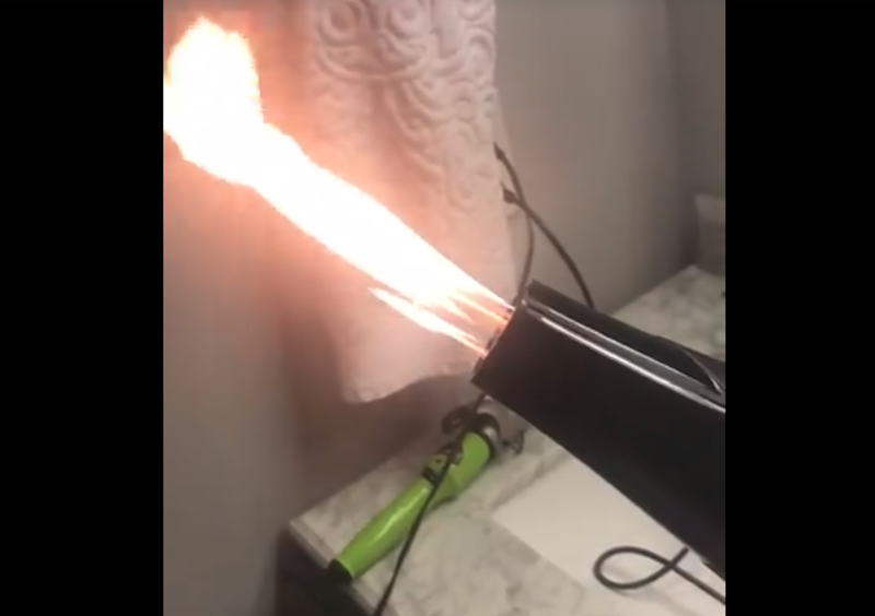 Flames shoot from hair dryer woman bought on Amazon
