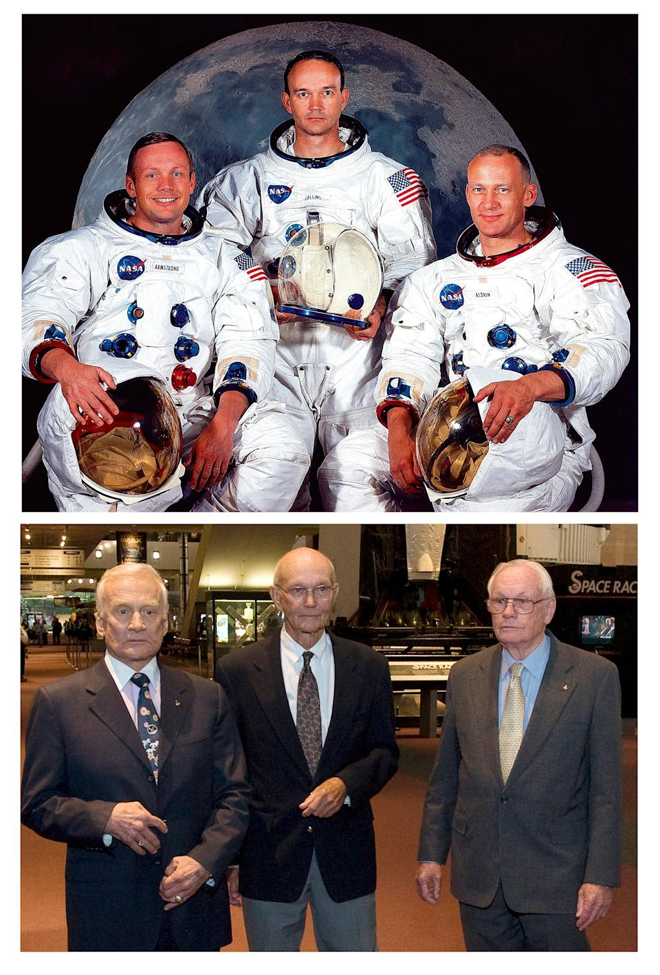 These NASA handout images show at top the Apollo 11 lunar landing astronaut crew from left:  Neil A. Armstrong, Michael Collins, and Edwin E.