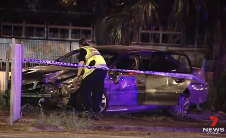 A smashed Holden Statesman is pictured in Townsville.