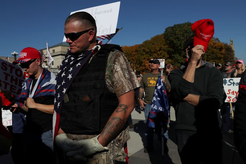 Supporters of U.S. President Donald Trump rally outside the State Capitol building following the 2020 U.S. presidential election, in Harrisburg, Pennsylvania