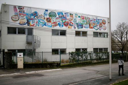 A milk products sticker is seen on a building at the French dairy group Lactalis headquarters in Laval